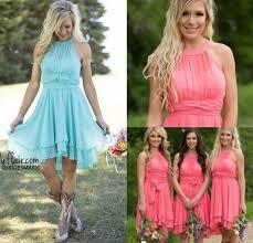 Fall Cheap Country Coral Bridesmaid Dresses 2017 Jewel Chiffon