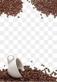 Coffee Beans Background Scattered White Cup Whole Grains PNG And PSD