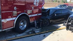 100 Truck Driving Test Tesla Sedan Hits Fire Truck During Selfdriving Test In Los Angeles