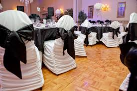 Wedding Reception Decor - Michelangelo Banquet Centre - Hamilton ... Black Tablecloths White Chair Covers Holidays And Events White Black Banquet Chair Covers Hashtag Bg Sashes Noretas Decor Inc Cover Stretch Elastic Ding Room Wedding Spandex Folding Party Decorations Beautifull Silver Sash Table Weddings With Classic Set The Mood Joannes Event Rentals Presyo Ng Washable Pink Wedding Sashes Napkins Fvities Mns Premier Event Rental Decor Floral Provider Reception Room Red Interior