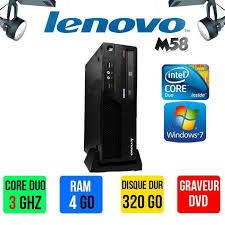 ordinateur bureau windows 7 ordinateur de bureau lenovo m58 duo 3ghz 4go ram 320 go
