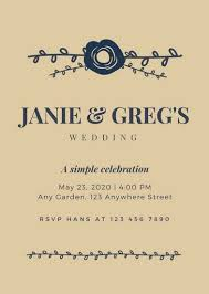 Blue Brown Rustic Wedding Invitation