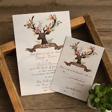 Bohemian Rustic Deer Flower Wedding Invitations EWI414 2