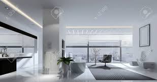3d rendering ein geräumiges wohnzimmer mit track beleuchtung spiegel und stuhl vor großen fenster