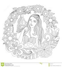Pretty Girl Playing With Butterfly In The Flowers Garden Line Art For Coloring Page Adult