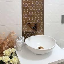 atemberaubend feature wand backsplash 3d edelstahl mosaik fliese gold hexagon blumenmuster