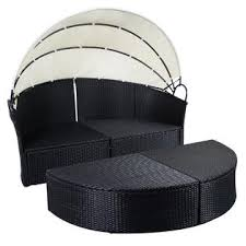 goplus hw51820 outdoor patio sofa furniture round retractable