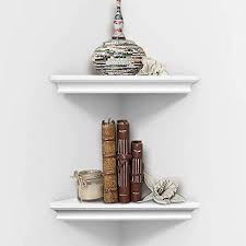 ahdecor weiß eckregal hängeregal wandregal bücherregal wandlagerregal 2 ebenen wandmontage dekor für schlafzimmer wohnzimmer bad küche büro und