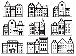 100 Townhouse Facades Europe Street And House Thin Line Collection Scandinavian And