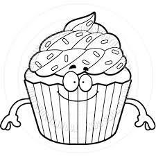 Cupcake Outline Clip Art Design Medium size