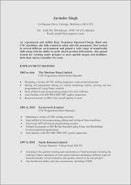 Sample Resume Machine Maintenance Operator New Cnc Samples