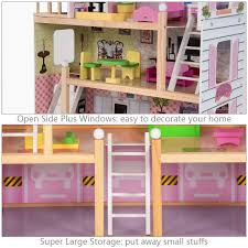 Costway Kids Dolls House Girls Cottage Furniture Fits Children Dollhouse Toys Town 3 Floors 5 Rooms