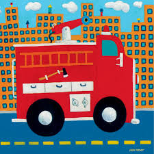 Greenbox Art 10 X 10 Fire Truck Canvas Wall Art | Wall Décor | Baby ...