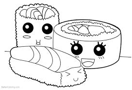 Kawaii Sushi Coloring Page Printable Download Free Books And Pages