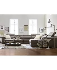 Nevio Leather & Fabric Power Reclining Sectional Sofa with