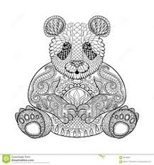 Hand Drawn Tribal Panda Animal Totem For Adult Coloring Page Detailed
