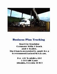100 Start A Trucking Company Transportation Business Plan Example Pdf Up Top 10