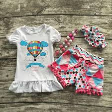 2017 baby girls summer boutique clothes girls fire balloon