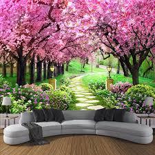 nach 3d foto tapete blume romantische kirschblüte baum kleine straße wandbild tapeten für wohnzimmer schlafzimmer de parede