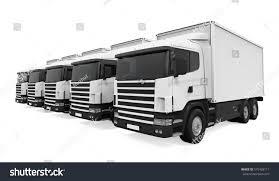 100 Fleet Trucks Isolated 3 D Rendering Stock Illustration Royalty