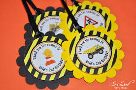 99 Truck Birthday Party Construction Favor Tags Boys 1st