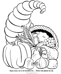 Cornucopia Coloring Page Thanksgiving Pages Online Free