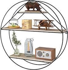homfa wandregal küchenregal rund aus holz und metall gewürzregal dekorativ hängeregal schweberegal holzregal mit 3 böden vintage im industrie design