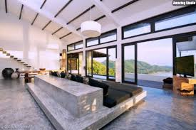 betonboden grauen stein möbel wohnzimmer