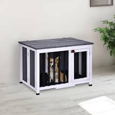 pawhut hundekäfig hundebox faltbar hundehütte hundehaus mit fenster massivholz grau 84 5 x 51 4 x 61 cm