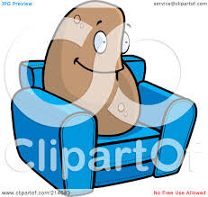 Royalty Free RF Clipart Illustration Of A Lazy Couch Potato On Blue Chair By Cory Thoman