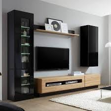 wohnmöbelserie chur 61 in hochglanz schwarz mit eiche hell selbst zusammenstellen