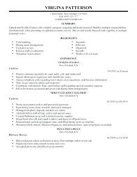 Example Of Resume For Cashier Sample Free Position Retail Stores