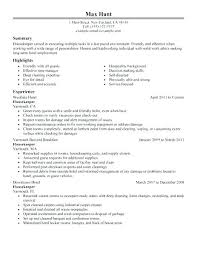 Maid Resume Sample Housekeeping Examples Create My In Hospital Housemaid Contract