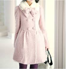 Light Pink Sweet Winter Coat Long Sleeves & Removable Collar