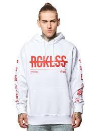strike thru hoodie white