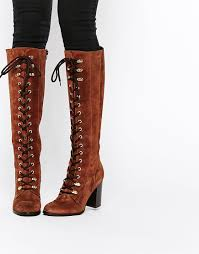 carvela wander rust suede lace up knee boots shoes pinterest