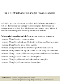 Hotel Front Desk Resume Samples by Top8itinfrastructuremanagerresumesamples 150410091103 Conversion Gate01 Thumbnail 4 Jpg Cb U003d1428675107