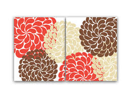 Coral Colored Decorative Items by Home Decor Wall Art Coral And Brown Flower Burst Art