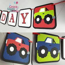 100 Monster Truck Theme Party D Happy Birthday Banner Grace Giggles And Glue