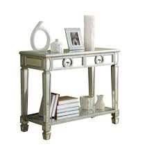 monarch specialties brushed silver mirror console table walmart