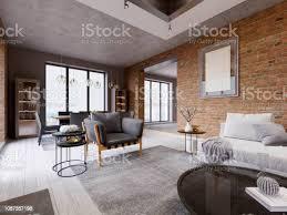 modernes wohnzimmer mit essbereich und esstisch in einer wohnung im loftstil stockfoto und mehr bilder architektur