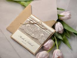 Rustic Wedding Invitations 20 Lace Invites Pocket Fold Twine Invitation