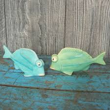 2er set fische keramik grün blau maritim fisch badezimmer