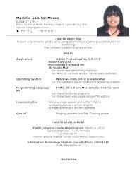 Resume Format For Ojt Sample Of
