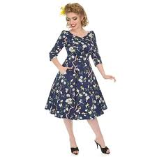 Hearts Roses 50s Enchanted Garden Floral Swing Dress