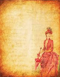 Click To See Printable Version Of Vintage Scrapbook Paper Designs With Woman In Red Victorian Dress