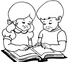 coloring book drawing of children playing at a table with toys