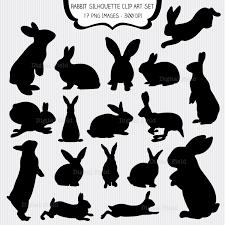 Rabbit Silhouette Clip Art Set Easter bunny printable