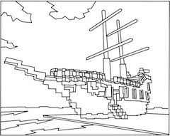 A Printable Minecraft Pirate Ship Coloring Page