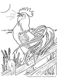 Farm Animal Coloring Page Free Printable Chicken Pages Featuring Morning Roster At The Crack Of Dawn